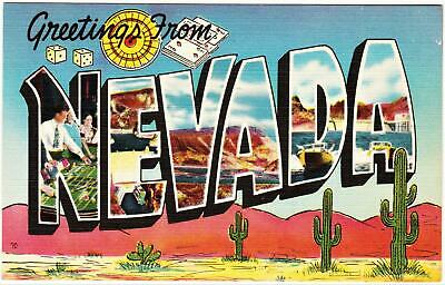 GREETINGS FROM NEVADA *LINEN 1940's BIG LETTER** Las vegas nevada Post Card*A 81