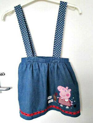 George Peppa Pig Denim Blue 100% Cotton Skirt With Straps Age 5-6 Years