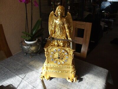 STUNNING ORMOLU FRENCH CLOCK 1840 SILK SUSPENSION GILDING IMMACULATE non fusee