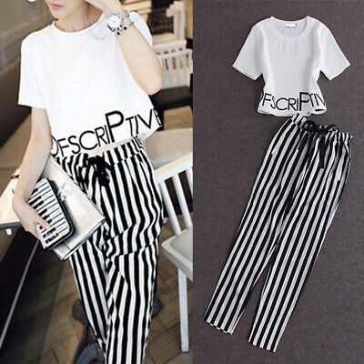 Fashion Women Lady Girls Crop Top T-Shirt + Stripes Long Pants Outfits Set