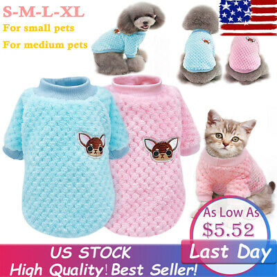 Dog Knitted Jumper Embroidery Chihuahua Clothes Pet Puppy Cat Sweater Costume US