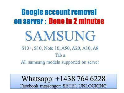 GOOGLE ACCOUNT REMOVAL FRP SAMSUNG S10+ S10 Note 10, A50, A20, A10, A8 2 minutes