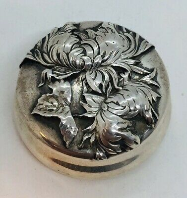 Shiebler Tiffany & Co. Antique Aesthetic Sterling Silver Chrysanthemum Round Box