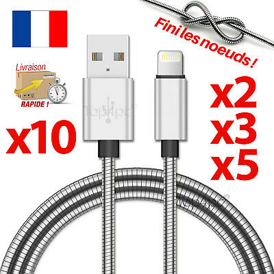 Cable Pour Iphone 7 6 5 8 Plus Xr 11 Pro Ipad Ipod Chargeur Usb Metal Incassable