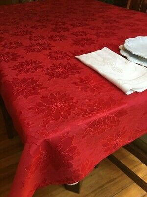 Bardwil Winter Joy Red Damask Poinsettia Tablecloth 60 x 102 Christmas New