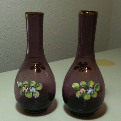 Vintage Bohemian Czech Amethyst Glass Hand Painted Bud Vases Set Of 2