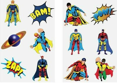 72 Super Hero Temporary Tattoos Transfers Kids Loot Party Bag Fillers Boys Girls