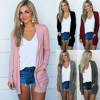 Womens Solid Cardigan Long Sleeve Pockets Loose Clothes Coat Outerwear Tops