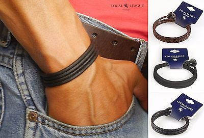 Mens Leather Bracelet Adjustable SURF PATROL Man Wristband Surfer Braided Cord
