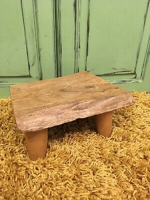 Vintage Small Tripod Wood Slice Stool Plant Stand Display