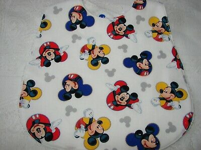 Mickey Mouse Faces White Baby Bib Cotton Front Towelling Back Handmade
