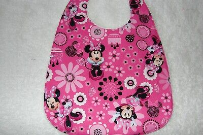 Minnie Mouse Hot Pink Baby Bib Cotton Front Towelling Back Handmade