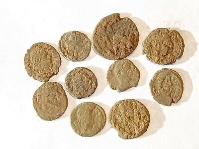10 ANCIENT ROMAN COINS AE3 - Uncleaned and As Found! - Unique Lot 25701