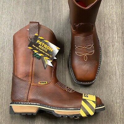 Mens Squared Steel Toe Work Boots Dark Brown Clearance Items Safety Toe #800
