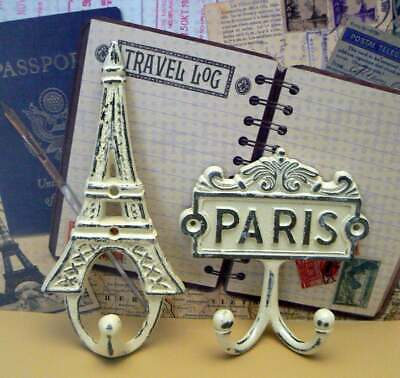 Paris Eiffel Tower Wall Hooks OFF White French Shabby Chic Design Art Deco Gift