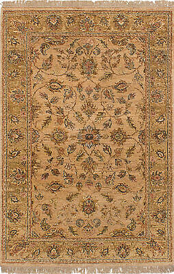 """Hand-knotted  4'0"""" x 6'3"""" Chobi Twisted Bordered, Floral, Southwestern Wool Rug"""