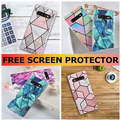 For Samsung Galaxy A40 A50 A70 S10 S9 S8 Plus Marble Case Slim Cover + Screen