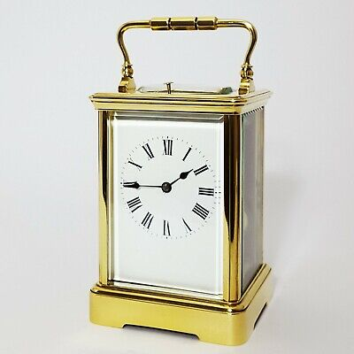 French Brass Corniche Cased Striking Repeat Carriage Clock c.1900
