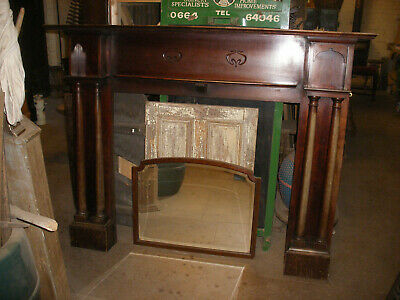 Reclaimed Edwardian / art nouveau solid mahogany fireplace surround