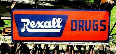 Antique Vintage Old Style Painted REXALL DRUGS SIGN GENERAL STORE Pharmacy
