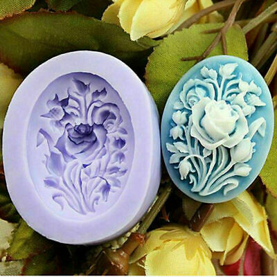 3D Oval Rose Flowers Silicone Soap Mold Candle Molds Mould For Candy Craft DIY