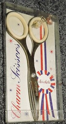"Charm Scissors Comfort Handle 5"" Stainless Steel Enamel IceCream Heart Novel New"