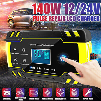 Electronic Automatic Car Battery Charger 12V/24V Fast/Trickle/Pulse Modes 8 AMP