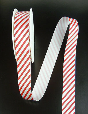 Ribbon red and white striped ribbon, 2 meters long, 25 mm wide