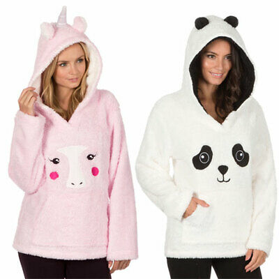 Ladies Womens Girls Super Soft Cosy Fleece Comfy Snuggle Lounge Tops Hoodie Gown
