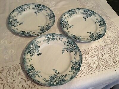 Antique Alfred Meakin 'Harvard' Flow Blue Dinner Plates x 3 c1900