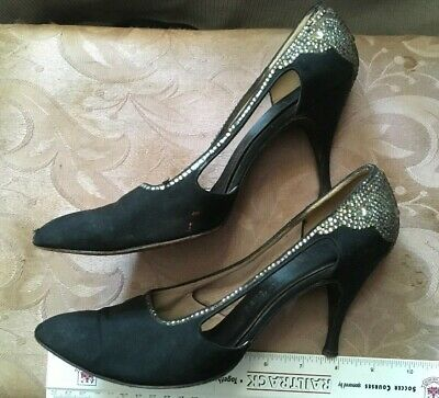 Vintage 50s Saks Fifth Avenue Black Satin Sexy Rhinestone MAD MEN Womens Shoes 6