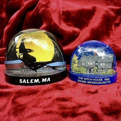 Two Vintage Salem Witch Snow Globes