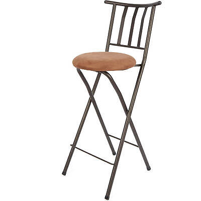 Excellent Bar Stool 30 Slat Back Folding Bronze Metal Padded Seat Bralicious Painted Fabric Chair Ideas Braliciousco