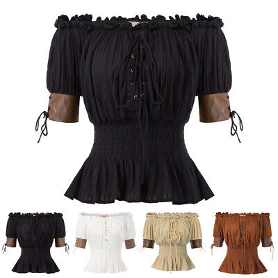 Women Gypsy Top Off Shoulder Gothic Steampunk Boho Victorian Party Shirt UK FAST