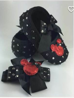 Customised Baby Minnie Mouse Sandals Shoes & Headband Romany Crystal Bling