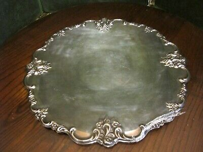 Ornate International Silver Company Silver Plated Round  Platter tray #6521