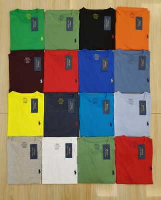 Brand New Men's Ralph Lauren Custom Slim Fit  Cotton Crew Neck T-Shirt XS - XXL