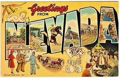 GREETINGS FROM NEVADA *LINEN 1940's BIG LETTER**las vegas nevada Post Card *B 6