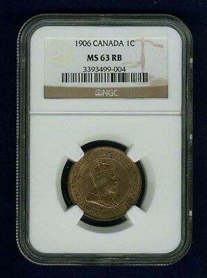 Canada Edward Vii 1906 Large Cent, Uncirculated,  Certified Ngc Ms63-Rb