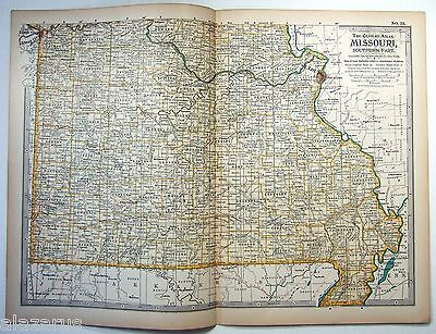 1897 Map of Southern Missouri by The Century Company. Original Antique Map