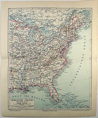 Eastern USA 1890 German Map by Meyers. Antique Original Map