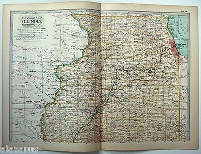 Original 1902 Map of Northern Illinois by The Century Company