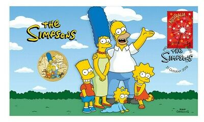 2019 Australia Pnc: The Simpsons W/ Color Gem/Bu $1 Coin 👍 Only 6500 - Hurry!