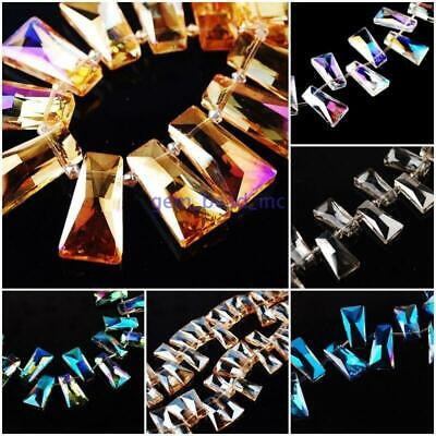 Pretty Crystal Trapezium Spacer Glass Beads Loose 28x15mm Charms Jewelry Craft