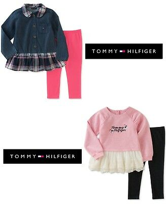 NWT Tommy Hilfiger Girls Pink & Blue Tunic & Leggings Set(Sizes 12M, 24M)NEW