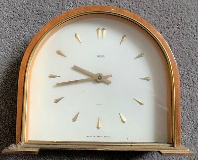 Smiths 8 Day Time Piece Mantel Clock c1960 Converted to Battery Spares or Repair
