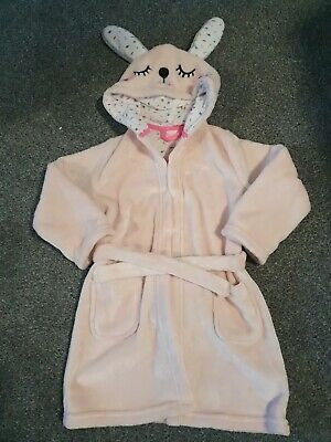 🐝Girl's M&S Dressing Gown Age 3-4 Pink Bunny Rabbit