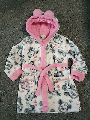 🐝Disney Minnie Mouse Soft Feel Hooded Dressing Gown Age 3-4