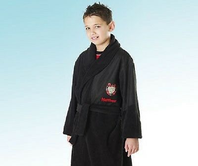 Boys Black Fleece Football Theme Dressing Gown/Bath Robe Age 2-3 Years Bnwt