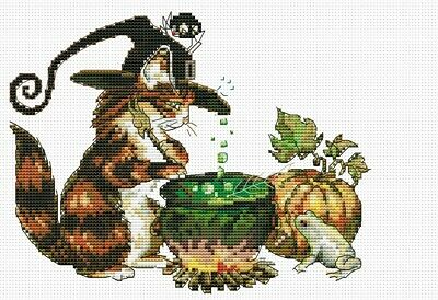 Witch Cat Cross Stitch Chart